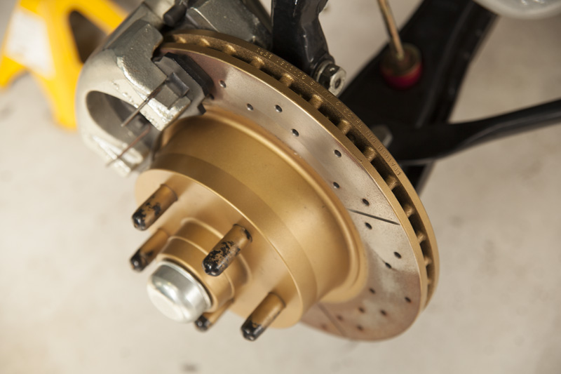 closeup of a disk brake